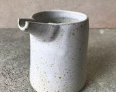 MILK JUG - 150 ml, matt white, speckled milk jug, rustic pottery