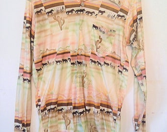 1970s beige blouse vintage cactus print blouse vintage graphic print button down blouse small western print tan blouse cowgirl shirt
