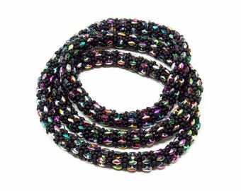 Long Infinity Rope Necklace Opera Necklace Seed Bead Rope Beaded Rope Jewelry Multi Color Beadwork Necklace Handmade Necklace For Women