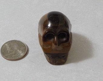 Natural Golden Tiger's Eye Hand Carved Skull TGSK-4