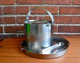 Vintage 60s Arne Jacobsen Stelton Cylinda Ice Bucket, Tray, Ice Tongs Stainless Steel Danish Modern. Mid Century Mod Barware Home Decor