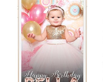 1st Birthday Snapchat Geofilter, Birthday Geofilter, First Birthday Snapchat Filter, Foil Balloon Rose Gold Geofilter, Girls Birthday