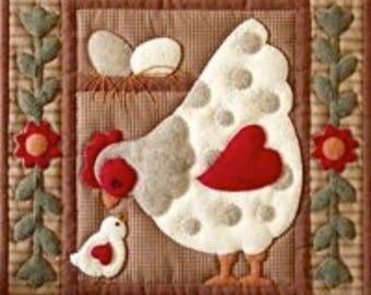 SALE PRICE: Miniature Rachel of Greenfield Quilt Kit - Spotty Hen 13in X 15in - Free UK Postage.