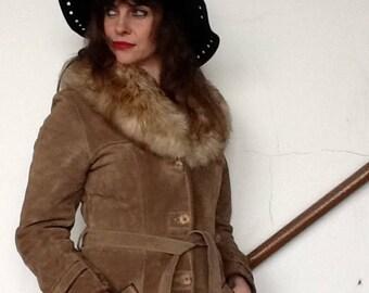 Sheepskin and suede Coat,Shearling,Bohemian,Winter,Brown,