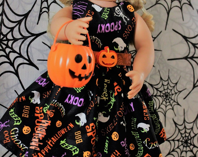Handmade Halloween Print Dress, and Shoes,  is Made for type Dolls like American Girl, and other 18 inch dolls  FREE SHIPPING