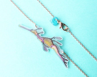 Weedy Sea Dragon Australian marine wildlife matte bib necklace makes the perfect unusual small gift for any Marine Biologist or diver