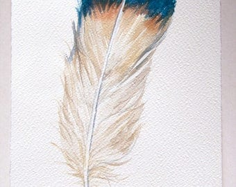Gray blue feather painting, Watercolour feather, Original watercolour 7,5 x 11/ Minimalist Art, Feather Artwork, Feather wall art Home decor