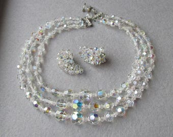 Exceptional 3 Strand Aurora Borealis Austrian Crystal Bead Necklace & BIG Crescent Climber Laguna Earrings Set Bridal