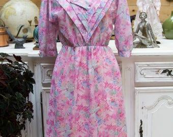 Vintage 1970's Pink Floral Dress