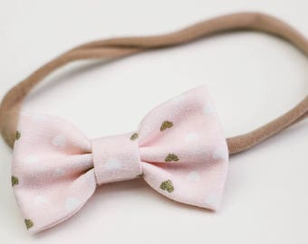 Newborn Bows, Valentines Bows,  Mini Bows, One Size Fits All, Fabric Bows, Hair Accessories, Bow Clip, Soft Headbands, Pink Bow