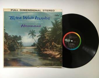 "Vintage Vinyl Record ""Trade Wind Island"" Romantic Island Songs Sung by Hunani, Hawaiian  Music, Full Dimensional Stereo, Capitol Records"