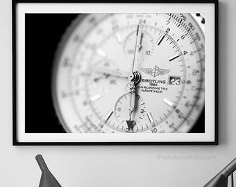 Breitling Navitimer/luxury watch black and white photography/large wall art/office decor/gift for him/chronograph bezel home decor