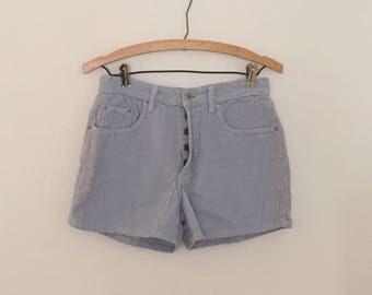 Pale Blue Corduroy Shorts - 1990s