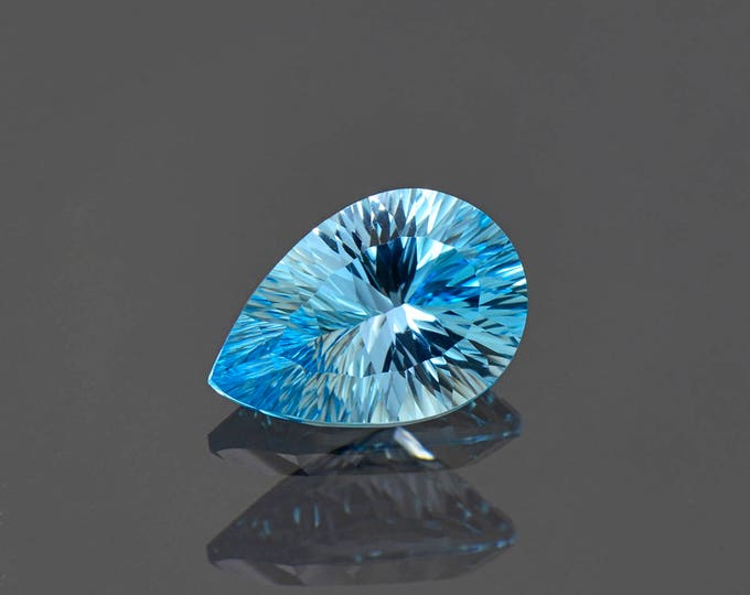 Beautiful Blue Topaz Gemstone Concave Pear Shape from Brazil 3.97 cts.