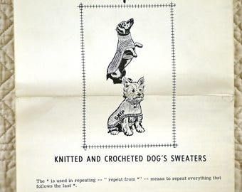 Dogs Knitted Crocheted Sweaters, Mail Order Pattern, Design 915, 1960s Uncut