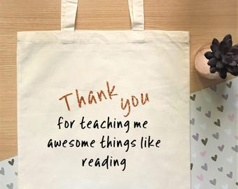 Thank you gift for teacher, cotton tote bag, perfect as a leaving gift or thank you gift for a teacher/teaching assistant
