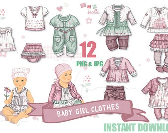 Baby girl clothes, Baby Diapers, Baby shower girl, graphics baby girl, Girls Scrapbook baby clothes, Cute, Pink Clothesline, Baby Clipart