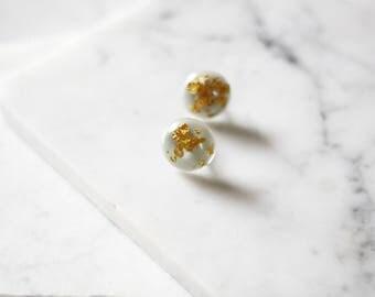 1960s globe earrings // 1960s gold fleck earrings // vintage earrings