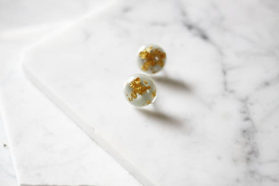 1960s globe earrings // 1960s gold fleck earrings // vintage earrings