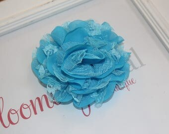Turquoise Lace Chiffon Flower Clip
