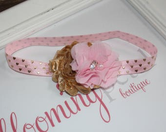 Pink Gold Heart Metallic Shabby Chic Newborn/Infant Flower Headband