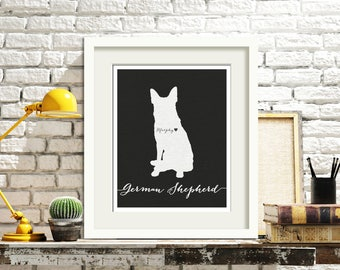 I love my dog, German Shepherd, personalized name, I heart home decoration poster, digital artwork print, modern home decor dog lover