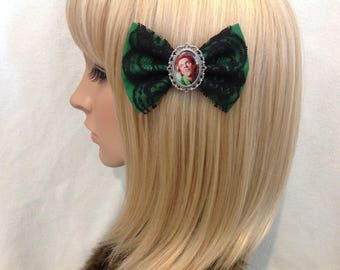 Drop dead Fred Rik Mayall hair bow clip rockabilly psychobilly vintage green black lace 80s movie kawaii pin up fabric ladies girls women