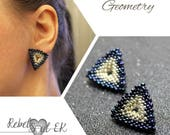 Beaded geometry earrings, triangle earrings, office jewelry, Contemporary jewelry, blue studs, beadwork earrings, rebelsoulek
