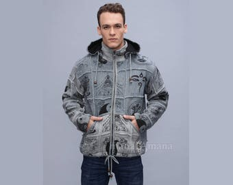 Pixie mens Jacket - Festival Jacket with removable hoodie  - Burning man