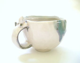 Crystal Cluster Mug with Jade and Silver Accents