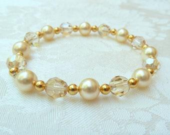 Swarovski Gold Pearl and Crystal Stretch Bracelet- Swarovski Pearl Crystal Stretch Bracelet- Swarovski Bridesmaids Stretch Bracelet- 623