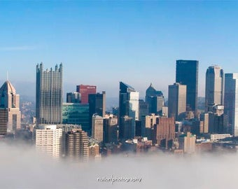 Pittsburgh Foggy Skyline Photo, blue and white, fine photography print, The Sky Fell