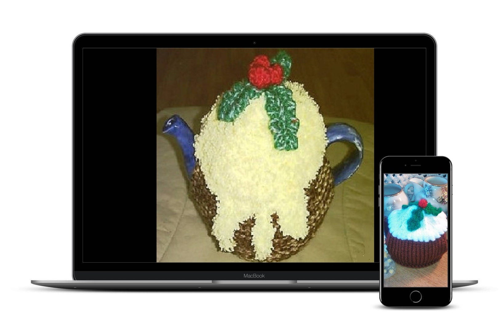 Christmas pudding knitting pattern 2 styles of xmas pudding tea this is a digital file bankloansurffo Choice Image