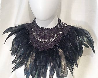 Black Coque Feather Collar Gothic, Burlesque, Showgirl.