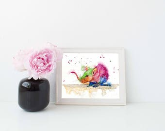Colorful rat art print - rat art, rodent art, rat lover gift, whimsical rat art, pet rat art, rat painting, rat wall art, rat wall decor