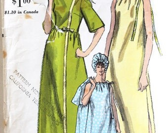 Vintage 1960s Women's Drawstring Top Nightgown, Shower Cap/Night Cap Sewing Pattern Size 12 Bust 32 Vogue 6644