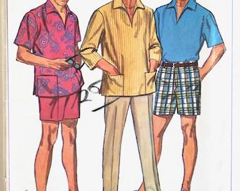 Mens Shorts Pattern- Vintage 1960s Men's Shorts, Pants and Collared Shirt Sewing Pattern Simplicity 7145 Size Medium- Uncut