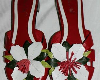 Vis a Vie Leather Red Vintage Sandals Flower Motif Mules Size 8M