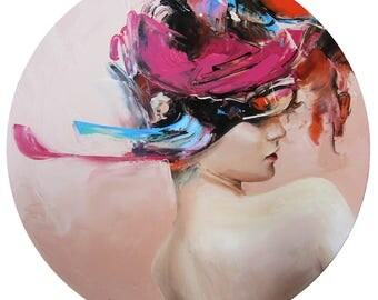 Woman Portrait, Contemporary Abstract Painting, Colorful Portait, Wall Art Decor, New Art, Female figure Oil Painting Original, Round Canvas