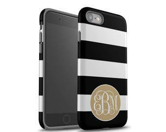 iPhone 8 Case, iPhone X Case, Monogram, iPhone 7 Case, iPhone 6 Case, iPhone 8 Plus, Personalized, Galaxy S8 Case, Galaxy S7, Black Stripes