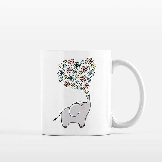 Elephant Mug, Elephant Coffee Mug, Elephant Gift Girlfriend Gift, Floral Mug, Heart Flowers Mug, Elephant Cup, Elephant Coffee Cup, Cute Mug