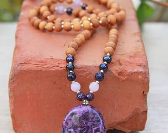 Amethyst Lace Agate Sandalwood Mala  - Mediation Inspired Yoga Beads BOHO chic / mala beads