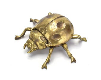 Vintage Gold Bronze Beetle or Lady Bug Ashtray or Jewelry Box - Bug Trinket Dish Container Nursery Kids - Mid Century - Valentine's Day Gift
