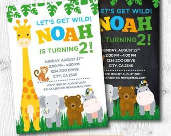 Zoo Invitation, Zoo Birthday Invitation, Animal Invitation, Giraffe Invitation, DIGITAL, 2 Options