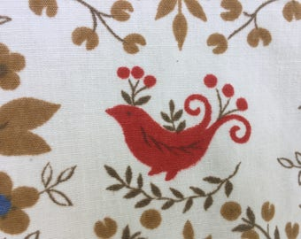 Vintage Fabric Whimsical Red Bird Cake Vines Blueberries Dots Red Blue Colonial Red Pom Pom Fringe Martha's Vineyard Find
