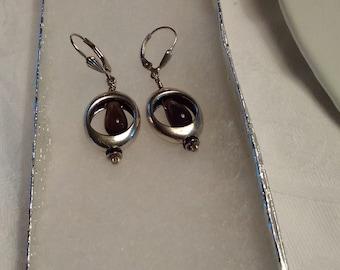 Earrings - Smokie Quartz w/Rondelle in .925 Sterling Silver