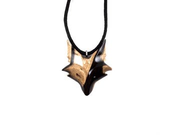 Fox Necklace, Fox Pendant, Celtic Fox Necklace, Fox Jewelry, Celtic Wooden Fox Pendant, Fox Totem Jewelry, Hand Carved Spirit Animal Pendant