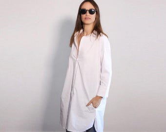 White Top, Women's Blouse, Linen Top, Long Sleeve Top, White Blouse, White Shirt Dress, Minimalist Blouse, Oversized Tunic Dress, Office Top