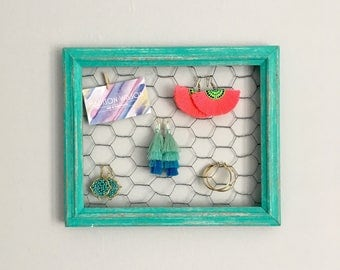 Bright Green Distressed Chicken Wire Frame / Earring Holder