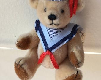 Miniature Brown Sailor Bear by Nancy Fruetel  1990 (JL)